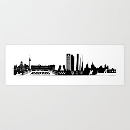 Skyline Madrid - Panoramic illustration Art Print