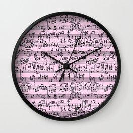 Hand Written Sheet Music // Light Pink Wall Clock