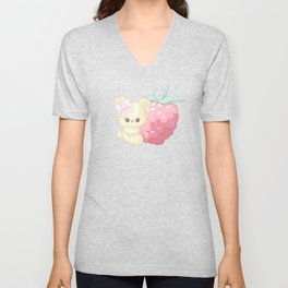 Raspberry Cutie Bear Unisex V-Neck