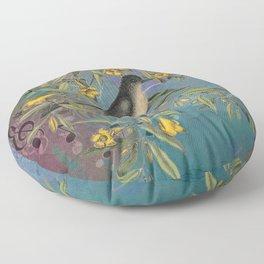 Flycatcher with Carolina Jasmine, Vintage Natural History and Botanical Floor Pillow
