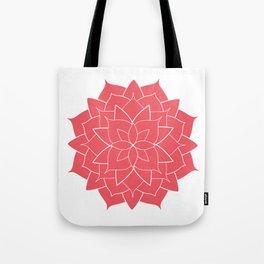Mandala flower, coral geometrical floral pattern Tote Bag