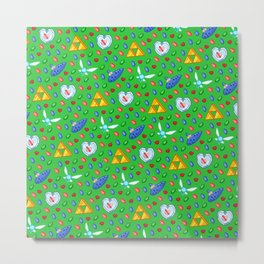Ocarina of Time Pattern / Legend of Zelda Metal Print