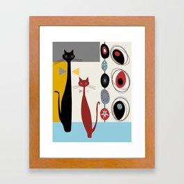 Mid-Century Modern Art Cats Framed Art Print