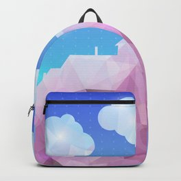 Abstract polygonal house with clouds and background Backpack