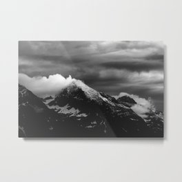 White clouds over the dark mountains Metal Print