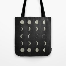 Moon Phases, Black White Decor, Bohemian, Magic, Lunar Cycle Tote Bag