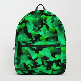 Chaotic bright on the dark of spots and splashes of green colors. Backpack