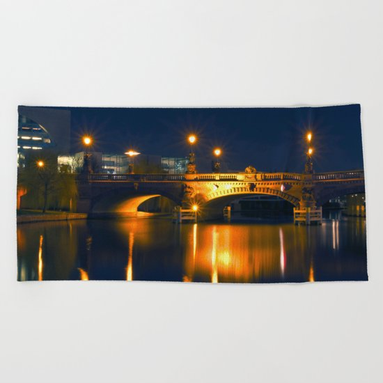 Moltke-Bridge at the river Spree in Berlin Beach Towel
