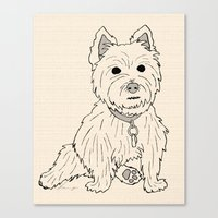 westie Canvas Prints featuring Westie Sketch by Circus Dog Industries