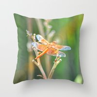 dragonfly Throw Pillows featuring Dragonfly by Lisa Argyropoulos