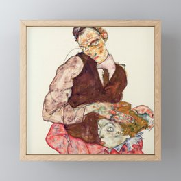 """Egon Schiele """"Lovers"""" Framed Mini Art Print"""