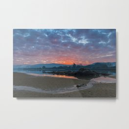 Sunrise with blue and red colors reflected on the Lima river Metal Print