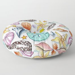 Illustrated Seashell Pattern Floor Pillow