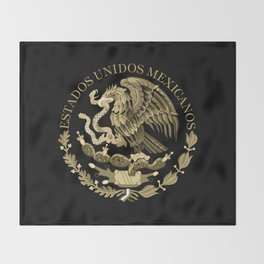 Mexican flag seal in sepia tones on black bg Throw Blanket