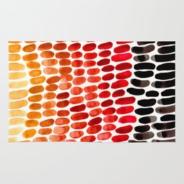 Colorful Primitive Pattern Watercolor Scales Abstract Desert Orange Yellow Ochre Rug