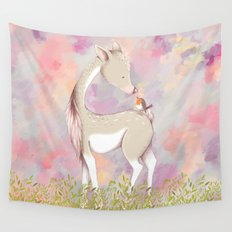 Baby Deer With Bird Watercolor Painting Wall Tapestry