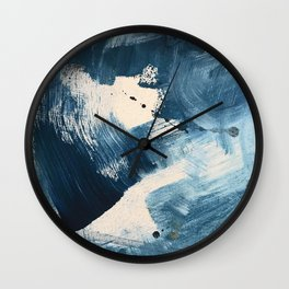 Against the Current: A bold, minimal abstract acrylic piece in blue, white and gold Wall Clock