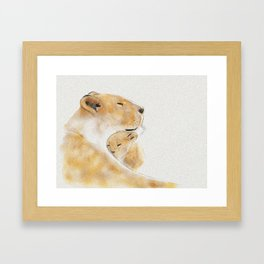 Lioness and her cub Framed Art Print