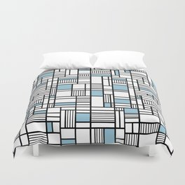Map Lines Sky Blue Duvet Cover