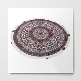 Elephant Mandala Tapestry Round Tablecloth  Metal Print