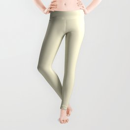 Light Yellow Blonde Simple Solid Color All Over Print Leggings