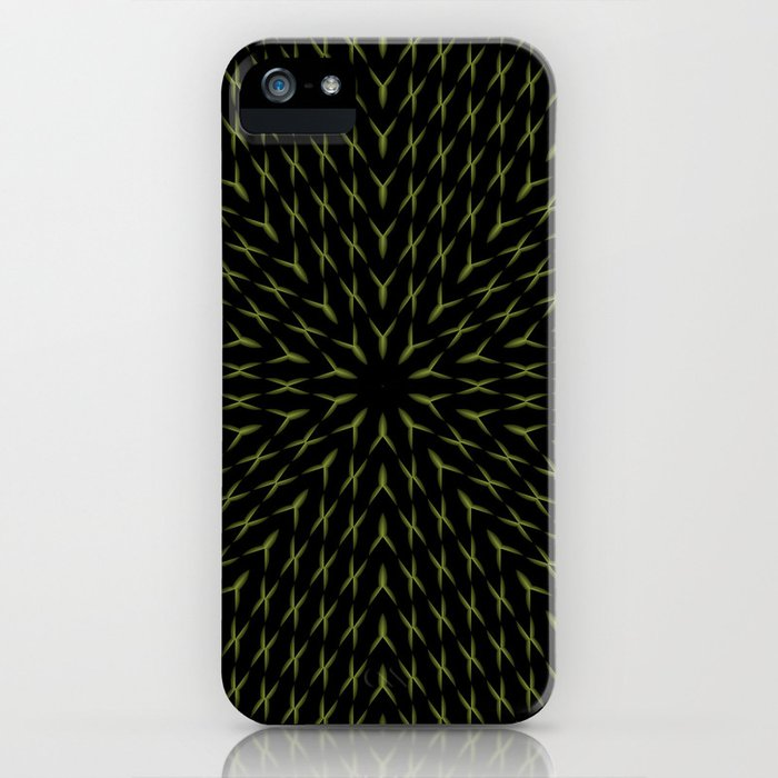 PCT2 Fractal in Yellow on Black iPhone Case