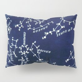 French July Star Maps in Deep Navy & Black, Astronomy, Constellation, Celestial Pillow Sham