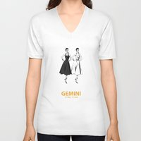 gemini V-neck T-shirts featuring Gemini by Cansu Girgin