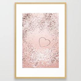 Sparkling ROSE GOLD Lady Glitter Heart #5 #decor #art #society6 Framed Art Print