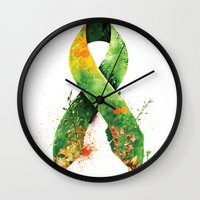 stickers Wall Clocks featuring Nature Ribbon by ErDavid