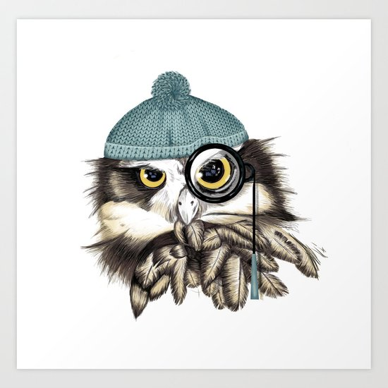 Owl eyeglass and cap Art Print