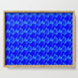 Sparkling pearl blue ice monograms on a blue background. Serving Tray