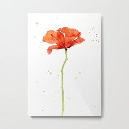 Red Poppy Flower Watercolor Metal Print