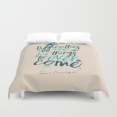 Shackleton Quote on Difficulties - Illustration, typography, interior design, wall decorations, deco Duvet Cover