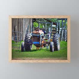 Old Tractor In Farm Country  Framed Mini Art Print