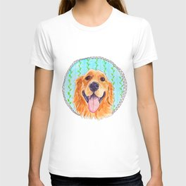 You're Never Fully Dressed without a Smile, Golden Retriever, Whimsical Watercolor Painting, White T-shirt