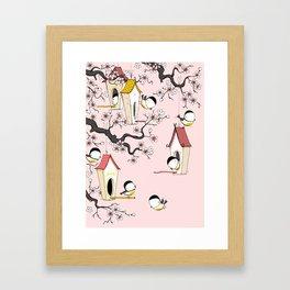 Lovely tit birds with birdhouses Framed Art Print
