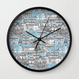 Paris toile cornflower blue Wall Clock