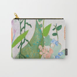 Multi Floral Painting on Pink and White Background Carry-All Pouch
