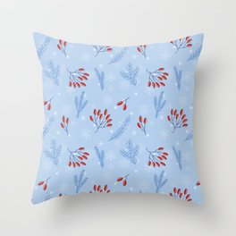 Winter Pattern With Rosehip and Pine Branches Throw Pillow