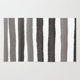 Grey Stripe Abstract Painting Rug