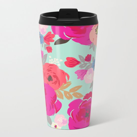 Sweet Pea Floral Aqua Metal Travel Mug