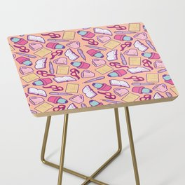 Book Club Pattern in Peach Side Table
