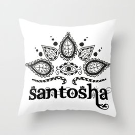 Santosha B&W Throw Pillow