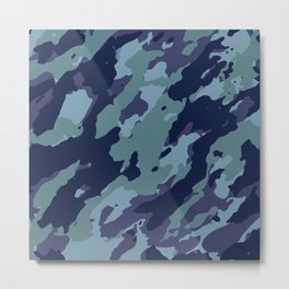 Blue Camouflage Pattern Metal Print
