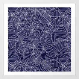 Spiderwebs - Webs on navy blue Art Print