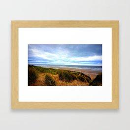 blue skies at the shore  Framed Art Print