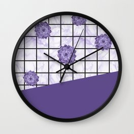 Succulents geometric composition - Ultra Violet Wall Clock