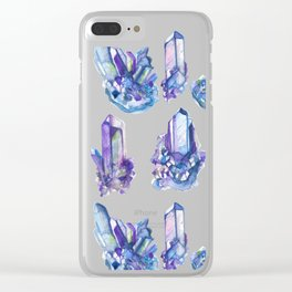 crystal watercolor pattern Clear iPhone Case