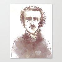 edgar allen poe Canvas Prints featuring Edgar Allen Poe by Andrew Brennan